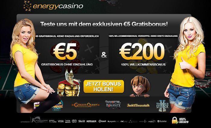 5 € Bonus ohne Einzahlun g im Energy Casino