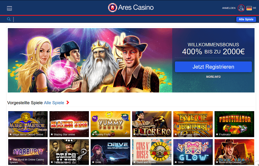 ares casino neues design