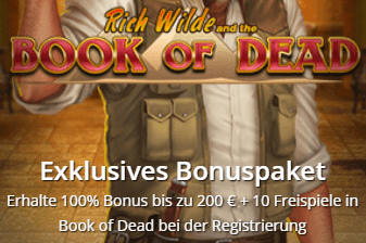 10 Freispiele Book of Dead ohne Einzahlung