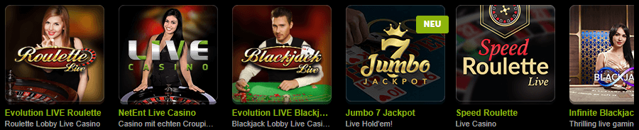 Comeon Slots - Live Casino Evolution Gaming und NetEnt