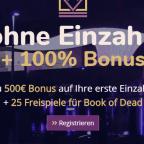 25 Book of Dead Freispiele und 5€ Bonus ohne Einzahlung