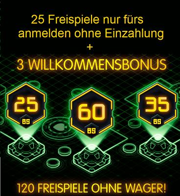 25 Freispiele ohne Einzahlung + 120 Freispiele ohne Umsatz