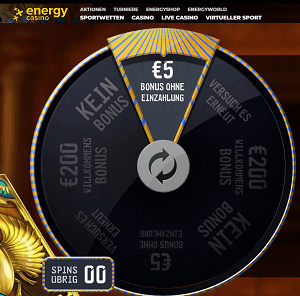 5 Euro gratis Glückrad Energy Casino
