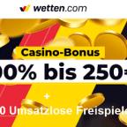 Wetten.com Bonus - 120 umsatzlose Freispiele + 250€ gratis
