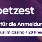 Betzest Casino 5 € ohne Einzahlung / 20 Freispiele + 300 € Bonus
