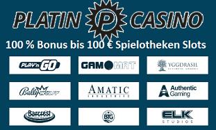 Platin Casino 100 Euro Bonus plus 20 Freispiele