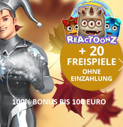 100% Bonus plus 20 Freispiele ohne Einzahlung