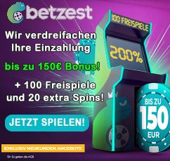 Betzest 200% Bonus und 100 Freispiele
