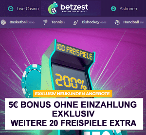 Betzest Bonus ohne Einzahlung und 20 Freispiele