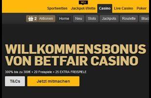 45 Freispiele und 300% Bonus im Betfair Casino