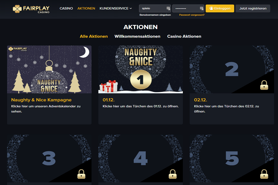 Fairplay Casino Weihnachtskalender