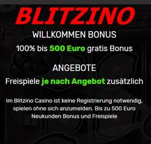 Blitzino Willkommen Bonus