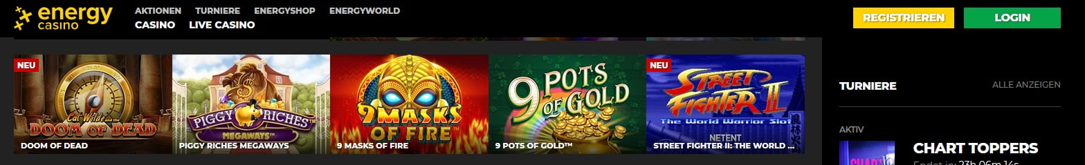 Energy Casino Auswahl