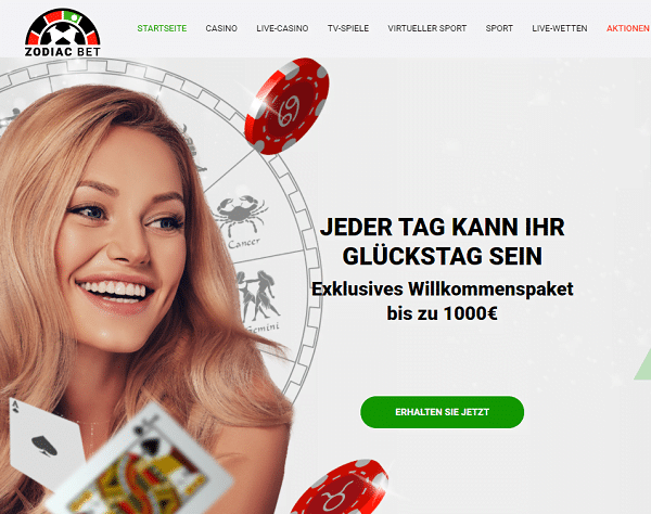 ZodiacBet Casino 1000 Euro Bonus