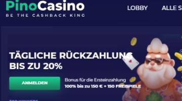 Pino Casino 20 Prozenz Cashback immer