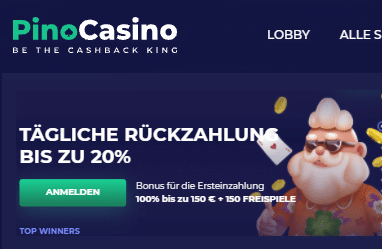 Pino Casino 20 Prozent Cashback immer