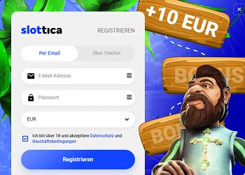 Slottica 10 Euro gratis ohne Einzahlung
