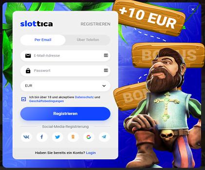 Slottica 10 Euro ohne Einzahlung